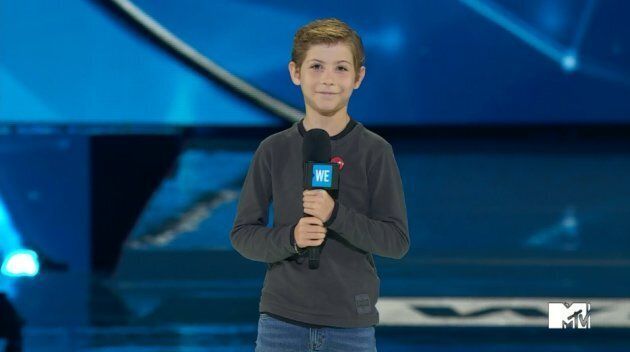 Actor Jacob Tremblay talks to the audience at We Day Toronto.