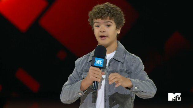 Actor Gaten Matarazzo talks about his rare disorder after removing his mouth piece to show the gaps in...