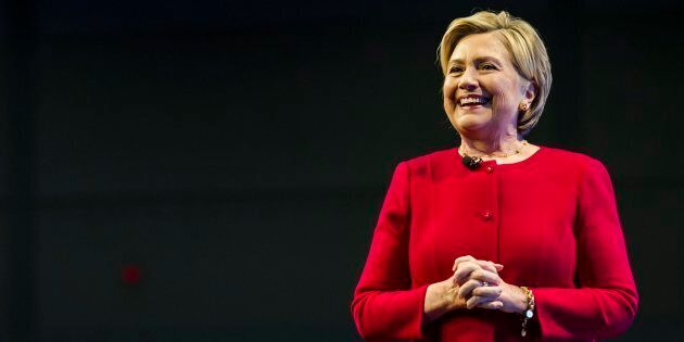 Hillary Clinton speaks to an audience in Toronto promoting her new