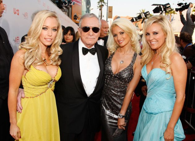 Hugh Hefner arrives with Girls Next Door Kendra Wilkinson, Holly Madison and Bridget Marquardt at the...