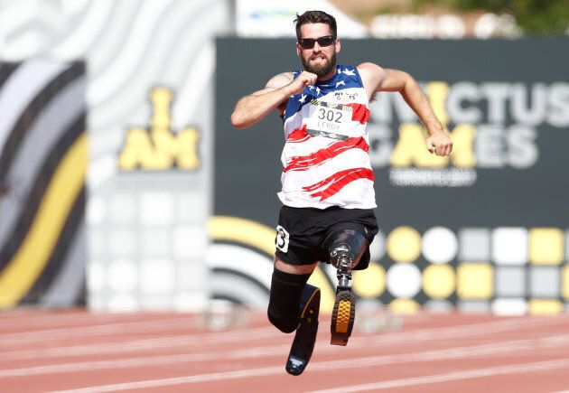 Stefan Leroy of the United States competes in the men's 100 Metre Dash IT2 Ambulant heats at the Invictus...