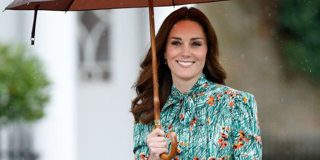 The Duchess of Cambridge visits the Sunken Garden in the grounds of Kensington Palace on August 30,