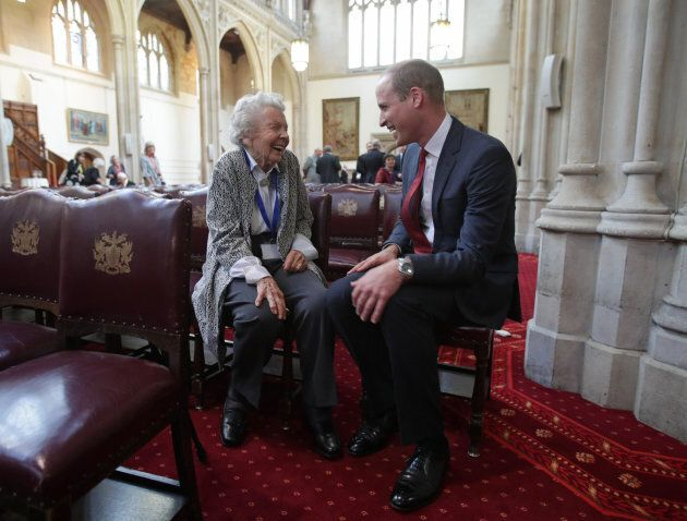 The Duke of Cambridge talking to Iris Orrell at the Guildhall, London.