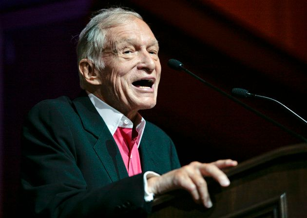 Hugh Hefner, founder, editor-in-chief and creative officer of Playboy, speaks as he is honoured with...