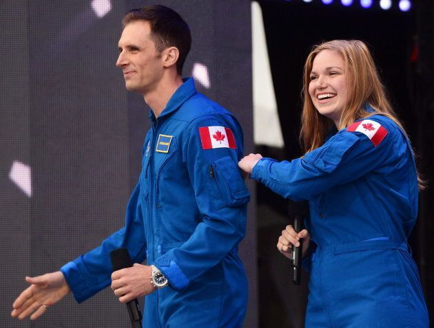 Canada's newest astronauts Joshua Kutryk and Jennifer Sidey acknowledge the crowd during Canada 150 celebrations...