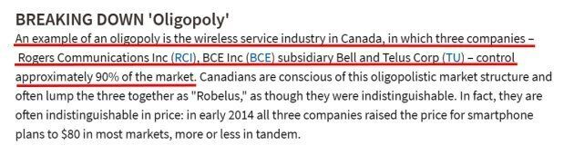 Canada's Wireless Companies Appear In Definition Of