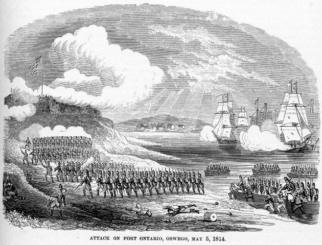 Illustration showing the attack by British forces upon Fort Ontario, in Oswego, NY, during the War of...