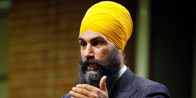 Jagmeet Singh gestures during an NDP leadership debate hosted by HuffPost Canada on Sept. 27,