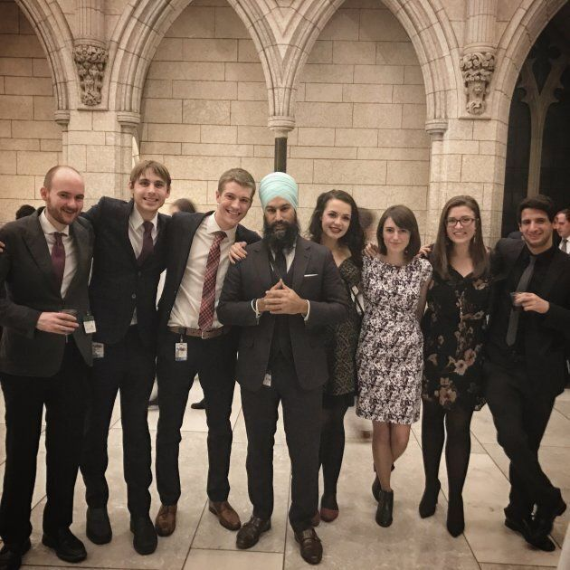 NDP leadership candidate Jagmeet Singh meets with students in this undated photo.