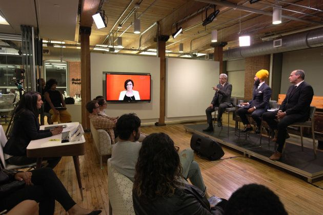 NDP leadership candidates Charlie Angus, Jagmeet Singh, Guy Caron and Niki Ashton participate in a debate hosted by HuffPost Canada in Toronto on Sept. 27, 2017. Ashton joined via Skype from Ottawa for the event, moderated by HuffPost's Ottawa bureau chief Althia Raj.