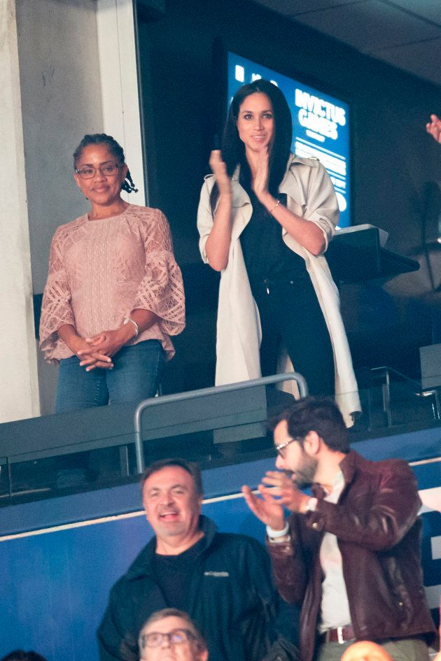 Meghan Markle and her mother, Doria Radlan, watch the Invictus Games closing ceremonies on Saturday.
