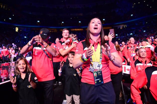 Natacha Dupuis of Canada cheers during the closing ceremony.