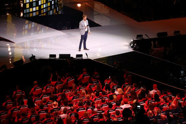 Prince Harry speaks during the closing ceremony of the Invictus