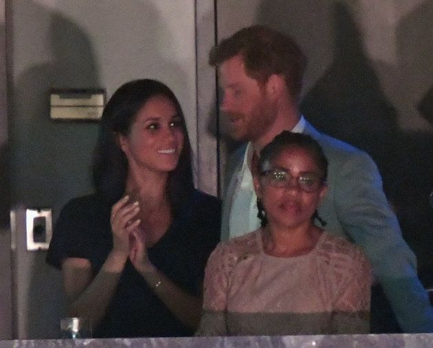Meghan Markle, Prince Harry and Markle's mom, Doria Radlan watch the Invictus Games closing
