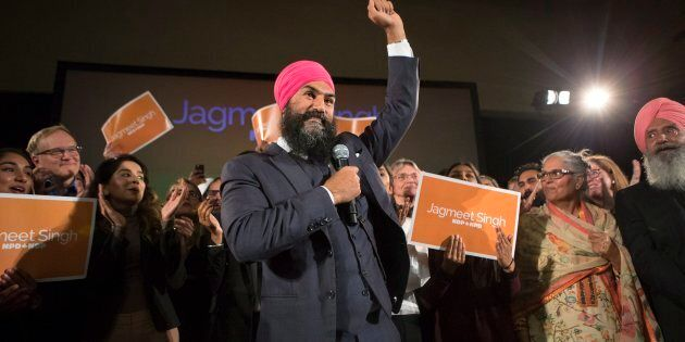 Jagmeet Singh celebrates with supporters after winning the NDP leadership in Toronto on Oct. 1,