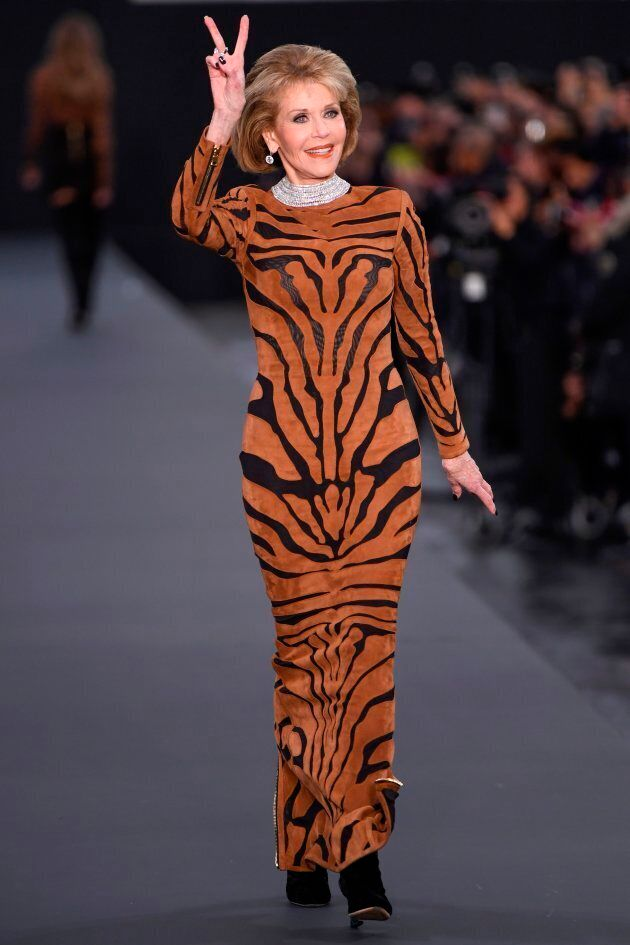 Jane Fonda at the L'Oreal fashion on the sidelines of the Paris Fashion Week on October 1, 2017, on a catwalk set up on the Champs-Elysees avenue in Paris   (CHRISTOPHE SIMON/AFP/Getty Images)