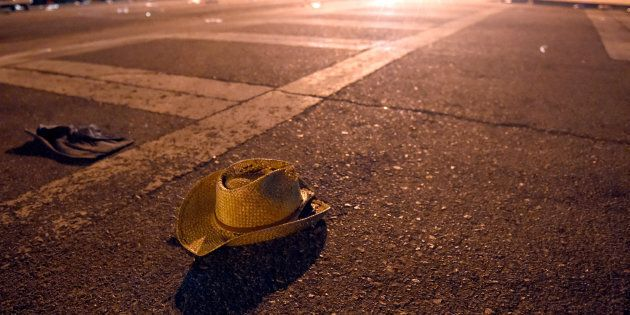 A cowboy hat lays in the street after shots were fired near a country music festival on Oct. 1, 2017 in Las Vegas, Nev.