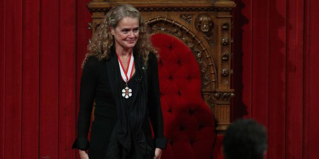 The 29th Governor general Julie Payette acknowledges the applause in the Senate in Ottawa, Ontario, October...