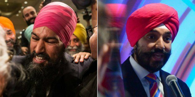 Jagmeet Singh, left, was named the NDP's new federal leader on Sunday. Navdeep Bains, right, is Canada's...
