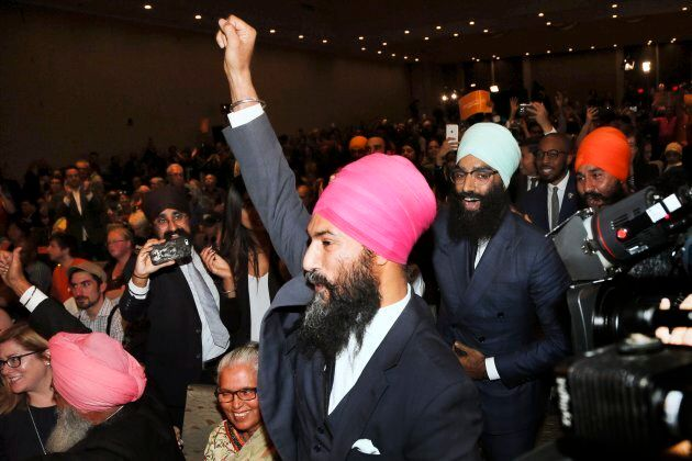 Jagmeet Singh reacts to winning the leadership of the New Democratic Party on Oct. 1,