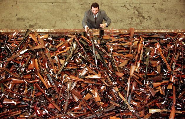 A pile of about 4,500 prohibited firearms in Sydney that have been handed in under the Australian government's...