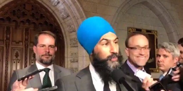 NDP Leader Jagmeet Singh speaks to reporters in the foyer of the House of