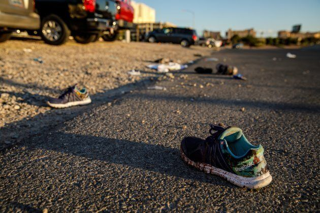 Discarded personal items covered in blood sit on Kovaln Lane, in the aftermath of the mass shooting  leaving at least 58 dead and more than 500 injured, in Las Vegas on Monday.