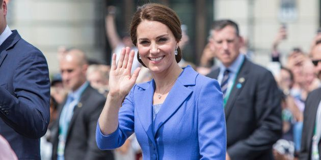 Catherine, Duchess of Cambridge visits The Brandenburg Gate on day 3 of their Royal Tour of Poland and...