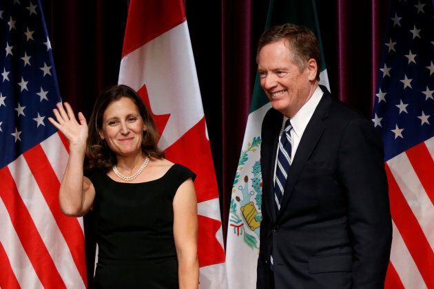 Foreign Minister Chrystia Freeland and U.S. Trade Representative Robert Lighthizer leave after the close...
