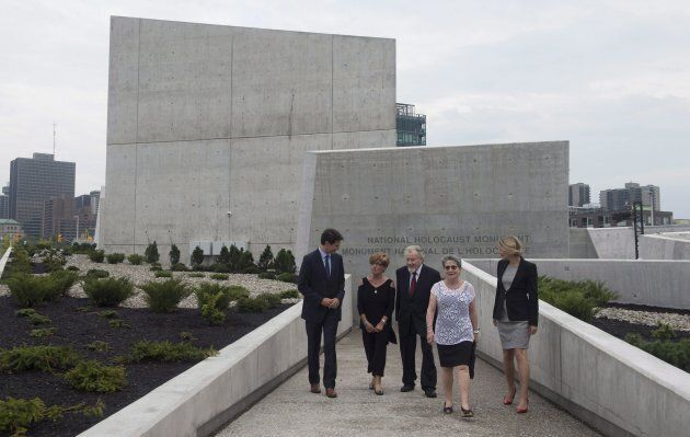 Prime Minister Justin Trudeau speaks with Holocaust survivors Georgette Brinberg, Philip Goldig, Eva...