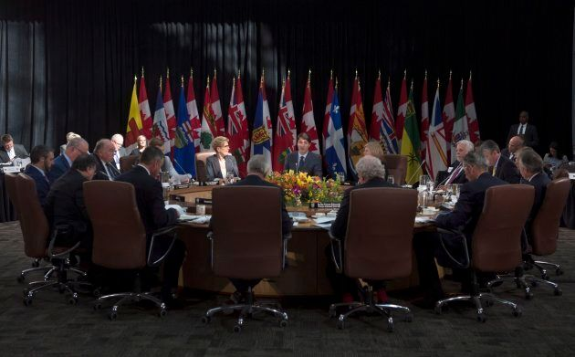 Prime Minister Justin Trudeau delivers remarks at the start of the second session at the first ministers'...
