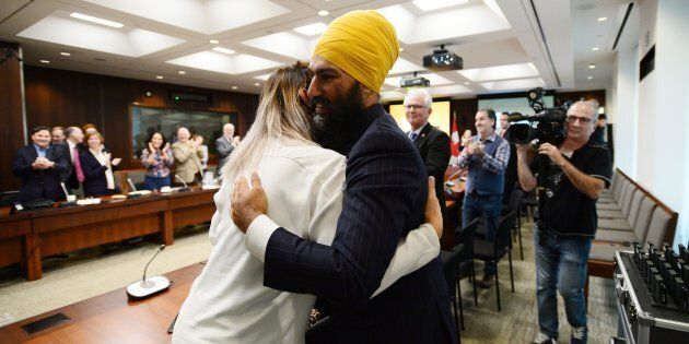 NDP Leader Jagmeet Singh arrives to his first caucus meeting since being elected leader, in Ottawa on...