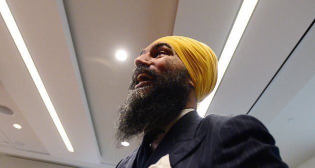 NDP Leader Jagmeet Singh arrives to his first caucus meeting since being elected to the leadership of...