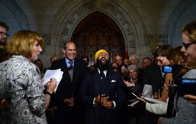 NDP Leader Jagmeet Singh shares a laugh as he stands with his newly announced NDP Parliamentary leader,...
