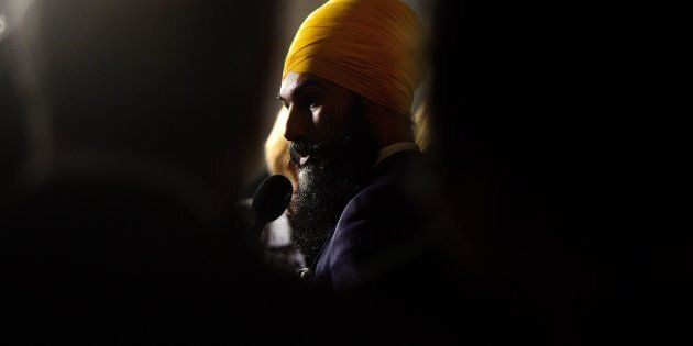 NDP Leader Jagmeet Singh speaks to reporters in the foyer of the House of Commons on Oct. 4,