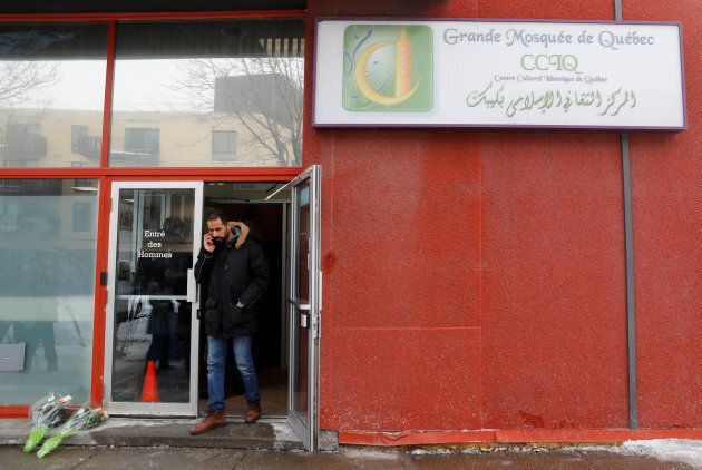 A man leaves the Quebec Islamic Cultural Centre in Quebec City on Feb. 1,