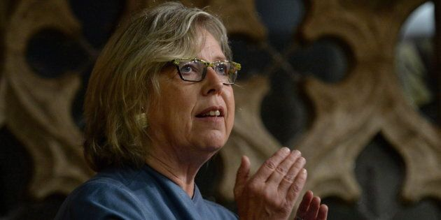 Green Party Leader Elizabeth May asks a question to Prime Minister Justin Trudeau in the House of Commons...