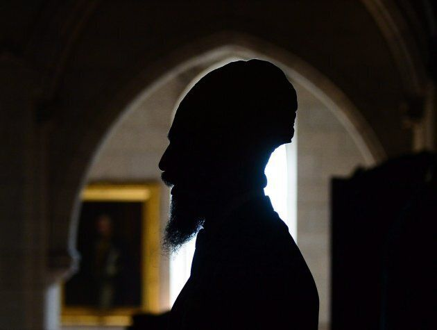 NDP Leader Jagmeet Singh speaks to reporters in the foyer of the House of Commons in Ottawa on Oct. 4, 2017.