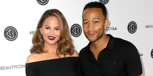 Chrissy Teigen and John Legend attend the 5th Annual Beautycon Festival Los Angeles on August 13,