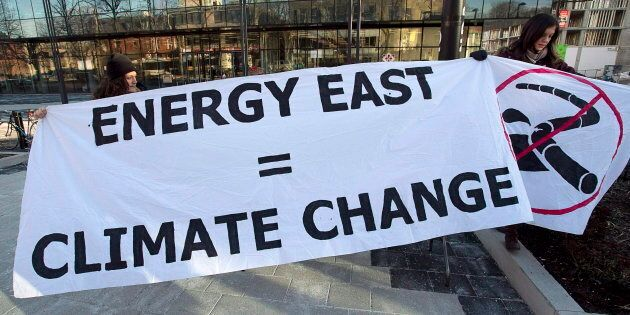 A protest sign put up by Stop Energy East Halifax outside the library in Halifax, Monday, Jan. 26, 2015....
