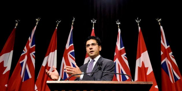 Ontario Attorney General Yasir Naqvi speaks at Queen's Park in Toronto on Oct. 28,