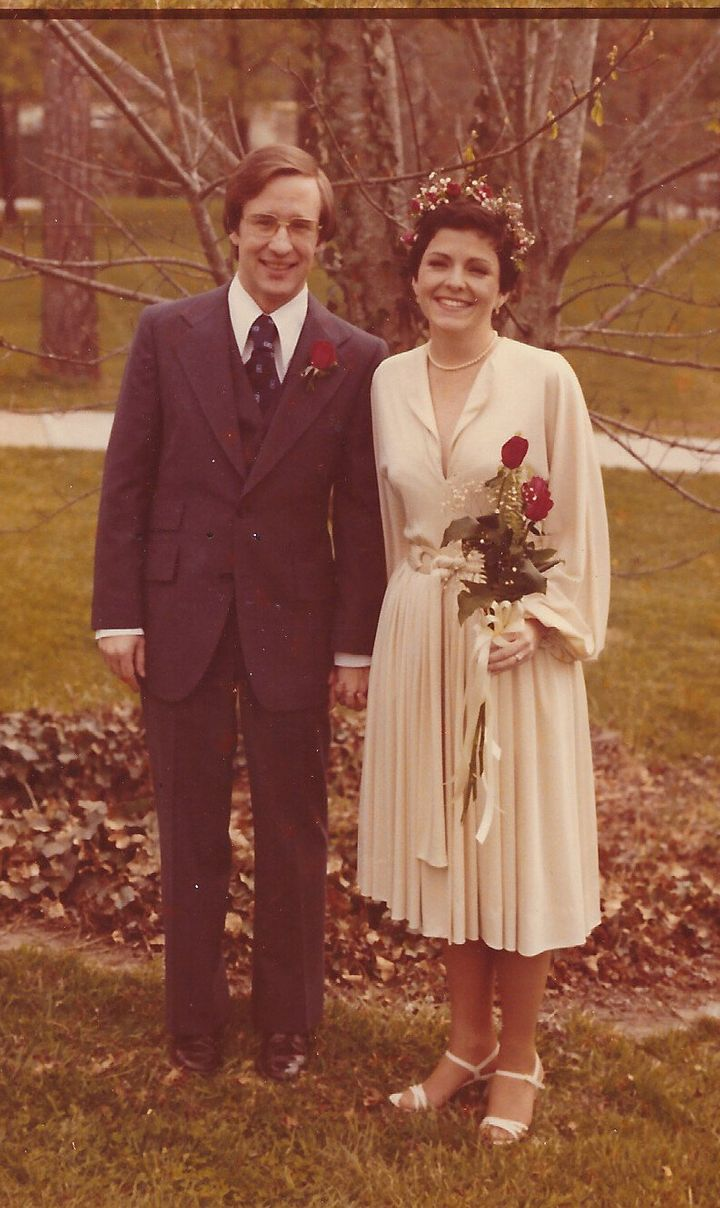 The author and her husband on their wedding day.