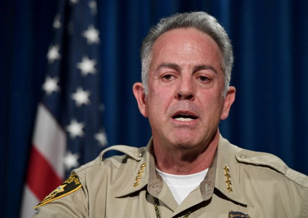 Clark County Sheriff Joe Lombardo speaks during a news conference at the Las Vegas Metropolitan Police...