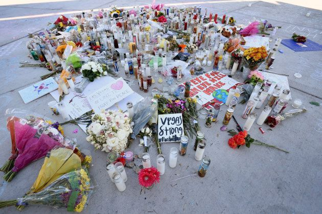 A memorial for the victims of Sunday's shooting is seen along the Las Vegas Strip on Oct. 4,