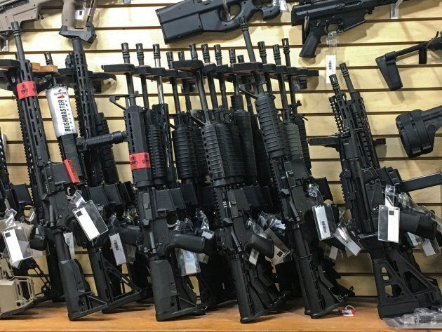 Semi-automatic rifles are seen for sale in a gun shop in Las Vegas on Oct. 4,