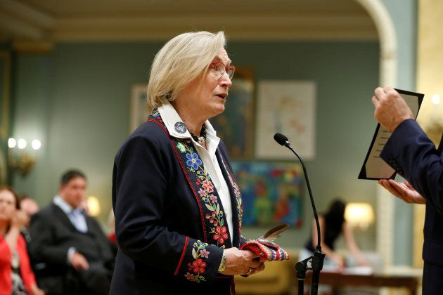 Carolyn Bennett is sworn-in as Canada's Minister of Crown-Indigenous Relations and Northern Affairs during...