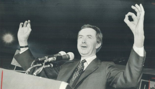 File photo: Then prime minister Joe Clark forms zeros with his hands to show how many policies the Liberals...