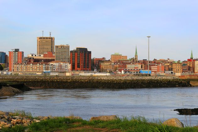 View of Saint John, New Brunswick, in the evening on the Bay of Fundy in the Maritime Provinces of