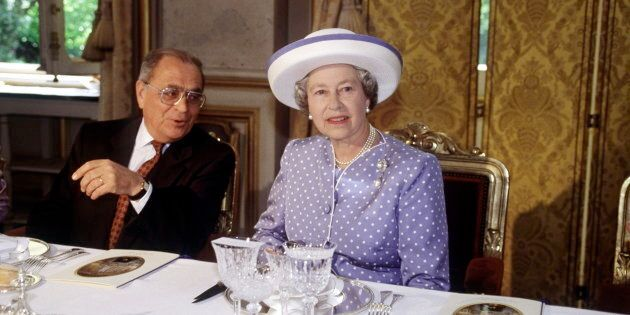 The Queen At A Luncheon In Paris, France. (Photo by Tim Graham/Getty