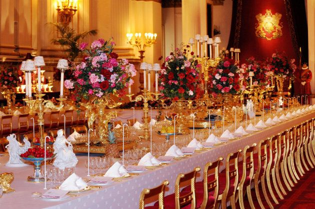 A table at the State Banquet, part of the Summer Opening exhibition at Buckingham Palace, London.